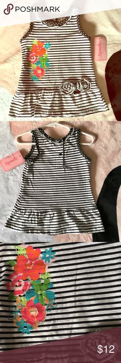 Cute Little Girls Dress Super Cute Dress!  NWT!  Pretty floral design over black and white stripes.  Unfortunately, My little one won't fit this before summer is over.  My loss, your gain😁💕. Says 24m but I think it would generally fit an 18m size better. Nannette Dresses Casual