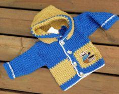 Crochet Baby Sweater,  Handmade Crochet Baby hoodie - size 9 months