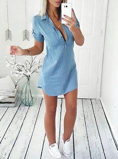 Women Collared Button Front Length Denim Mini Dress #minidress #DenimDress #casualwear #casualstyle #casualoutfits #Elegantstyle #ValentinesDay #likeforlike #followme