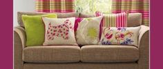 Pink and green cushions