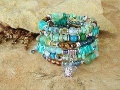 Turquoise Sea Turtle Jewelry, Colorful Beaded Bracelet, Layered Wrap, Deep Ocean Colors, Original Handmade Bohemian Jewelry by Kaye Kraus by BohoStyleMe on Etsy