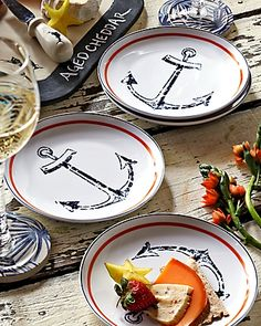 Anchor Appetizer Plates - Set of 4