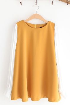 Contrast Pleated Sleeve A-line Top $31
