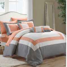 Chic Home Duke 10 Piece Comforter Set Complete Bed in a Bag Pieced Color Block Patterned Bedding with Sheet Set and Decorative Pillows Shams Included, King Black Peach Bedding, Orange Bedding, Cute Bedding, Peach Bedroom, Luxury Comforter Sets, Queen Comforter Sets, King Comforter, Gray Comforter, Ruffle Comforter