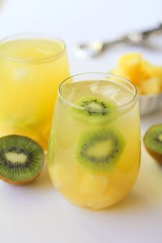 Pineapple kiwi sangria is a colorful summery cocktail.