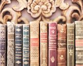 Paris Book Photography - Vintage French Leather Books, France Market Travel Photograph, Large Wall Art, French Home Decor