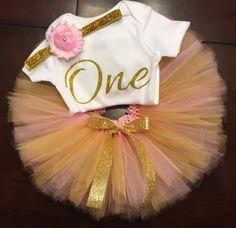 Cumpleaños de rosa y oro traje atuendo de por ASweetBabyBoutique