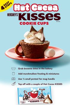 Warm up this holiday season with HERSHEY'S Hot Cocoa KISSES. This easy cookie recipe only has 4 steps - no bake time required! The Red Tea Detox will flush away fat and toxins in your body fast! Christmas Snacks, Holiday Treats, Holiday Recipes, Christmas Cookies, Christmas Diy, Xmas, Holiday Baking, Christmas Desserts, Christmas Baking