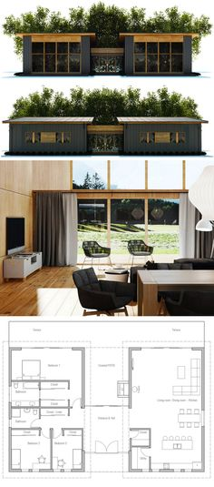 Container House - - Who Else Wants Simple Step-By-Step Plans To Design And Build A Container Home From Scratch? Modern House Plans, Small House Plans, House Floor Plans, Building A Container Home, Container House Plans, Container Homes, Casas Containers, House Layouts, Building A House