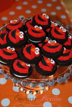 Elmo Oreos! Put on stick and dip in chocolate first