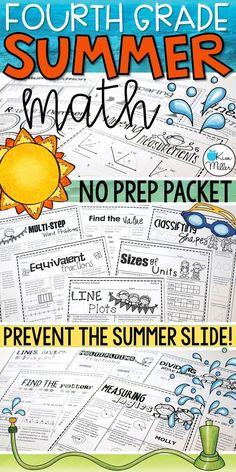 Prevent the summer slide with this 4th grade Math Summer Skills Review Packet! NO PREP required! All standards are included.