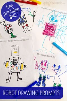 Robot Drawing Prompts - free printable