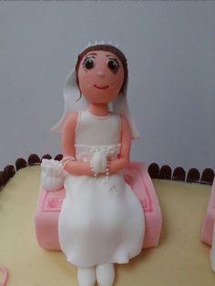 Communion girl fondant cake topper! All edible!