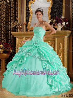 d9eeddfd7b Dreamy Strapless Pick-ups Beaded Quinceanera Dresses in Apple Green Cheap  Prom Dresses