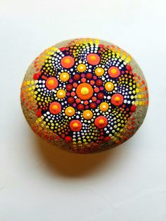 Fall Color Mandala Stone ~ Dot Art Painted Stone ~ Painted Rock ~ Hand Painted Home Decor by Miranda Pitrone by P4MirandaPitrone on Etsy