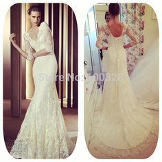 Find More Wedding Dresses Information about High Quality Sexy V Neck with Appliques Floor Length Three Quarter Lace Up Mermaid Lace Wedding Dress 2015 New Vestido De Noiva,High Quality dress up wedding dresses,China dresses size 16 18 Suppliers, Cheap v-neck t-shirt dress from Rose Wedding Dress Co., Ltd on Aliexpress.com
