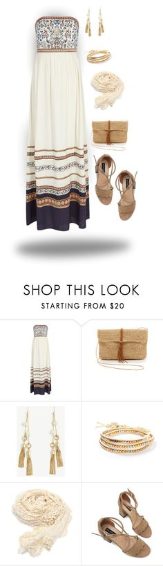 """""""Strapless Dress w/shawl"""" by curvygirlamy ❤ liked on Polyvore featuring Alice + Olivia, Hat Attack, Ann Taylor and South Moon Under"""