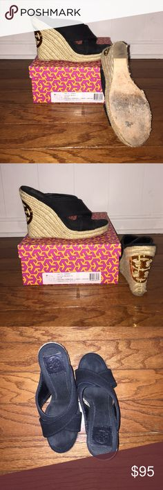 """EUC!! Tory Burch Kristen canvas wedges Get your """"wear with everything"""" summer sandal right here! This perfect wedge is ready to ship out today in its original box and like new condition. I have too many like this and need to eliminate some shoes. My surplus is your gain!!! Shoe runs true to size and has about a 5"""" heel!! Love them!! Make an offer today! Tory Burch Shoes Sandals"""