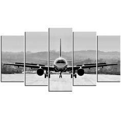 Toile Photo Polyptyque (Pentaptyque) - Avion sur Piste en Noir et Blanc