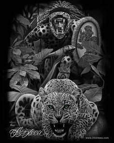 New Azteca design will be available soon. New Azteca design will be available soon. Cholo Art, Chicano Art, Chicano Tattoos, Aztec Pictures, Aztec Warrior Tattoo, Aztec Drawing, Jaguar Tattoo, Aztecas Art, Azteca Tattoo