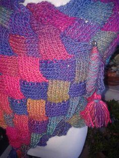 Estola/echarpe em trico, ponto entrelac - mãos&linhas®