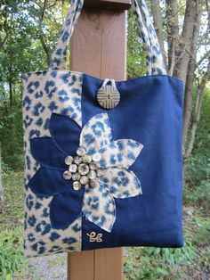 Leopard tote bag handmade blue/tan. 2 inside pockets one of