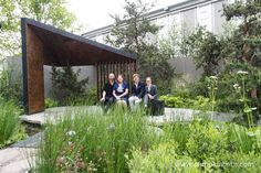 Charlotte Harris pictured with some of her team, on the Royal Bank of Canada Garden, at the RHS Chelsea Flower Show 2017.