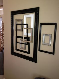 Photo and Project by Marcy Williams This is SO for me, YAY for squares! Frame Wall Decor, Diy Wall Art, Frames On Wall, Empty Frames, Easy Home Decor, Home Decor Items, Living Room Orange, Dollar Tree Decor, Old Picture Frames
