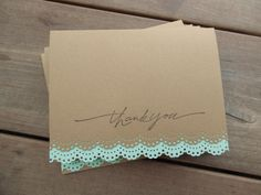 Kraft Mint Thank You Cards-Lace Edge Kraft Wedding Thank You Card by Lemon Drops & Lilacs on etsy.com