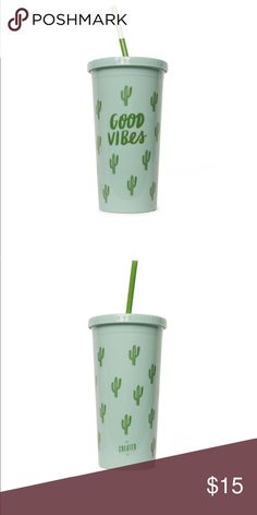 """Created Co """"Good Vibes"""" Tumbler NEW Original MSRP $19.95   Choosing to stay positive is the way to go. Good vibes only.  • Material: Double Wall Acryilc    • Style: Tumbler with straw  • Color: Green  • Volume: 20oz  Use this tumbler to enjoy an iced cold beverage and refrain from using it for hot liquids or in the microwave. Hand-washing is recommended, but if you're going to use the dishwasher, the top rack is best. This is a BPA free item. created co. Other"""