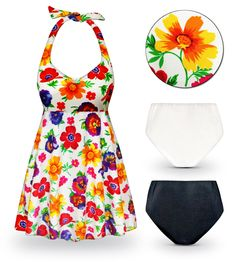 46746781fb72e Customizable Pansy Dance Print Halter or Shoulder Strap 2pc Plus Size  Swimsuit/SwimDress Plus Size