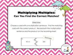 Day 11 freebie - multiplying multiples (students can use their understanding of basic multiplication and apply that to multiplying multiples; recording sheet and answer key included)