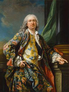 Charles-André van Loo ó Carle Van Loo. 'An unknown man', France, about 1730-40, oil on canvas, 145 x 109 cm. Château de Versailles.