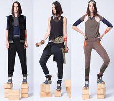 The Athleisure trend continues to surge, allowing women to seamlessly transition from gym/yoga studio to the rest of their day in style. Victoria Bartlett puts her spin on Athleisure with color blocked leggings, vests, wrap glasses, sneakers and even arm bands, all in retro orange, gray and olive. Loungewear never looked so cool.