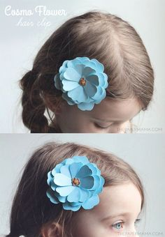 How to make a paper flower hair clip - SO cute for little girls!