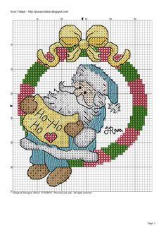 Santa Claus cross stitch pattern - Mikulás keresztszemes minta   JRosa világa