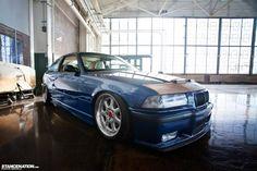 "Blue BMW e36 coupé on 2 piece BBS EB372 ""Bugatii"" wheels"