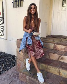 Pin for Later: 13 Chic Yet Effortless Outfits to Pack For Your Summer Vacation A Printed Dress, Jean Jacket, and Sneakers A breezy combination for a day full of adventures.