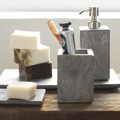 Kind of in love with slate right now.  Slate Bath Accessories | west elm