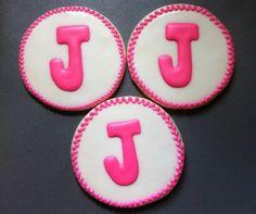 Pink letter J monogram cookies