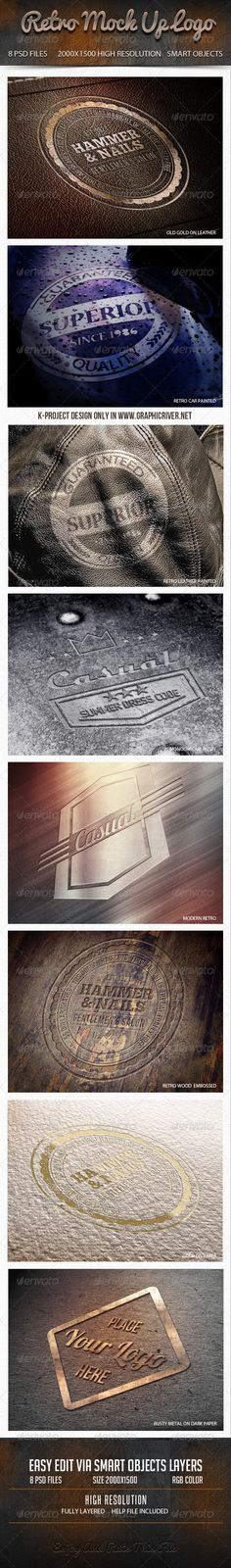 Retro Mock Up Logo By K Project 8 Layered Psd Files High Resolution Rgb Color Easy Edit Via Smart Objects Layers Instruction Included In Help File P