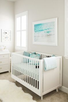 Nursery Reveal: Ocean Inspired Nursery Design This ocean inspired nursery room design will leave you feeling calm, relaxed & wanting a baby. It's the perfect look for a boy or girls room! Baby Design, Nursery Design, Design Design, Nursery Layout, Design Ideas, Nursery Room, Girl Nursery, Nursery Ideas, Beach Theme Nursery