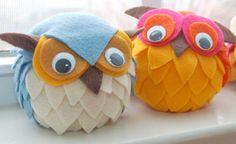 Cute owls with felt and polyethylene foam balls