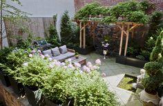 patio with pergola + benches Design Patio, Courtyard Design, Garden Design, House Design, Outdoor Spaces, Outdoor Living, Outdoor Decor, Backyard Movie Theaters, Terrace Garden