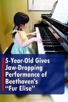 """A talented 5-year old girl sits at the piano and begins to play one of the most iconic pieces in classical music. As her dad turns the sheet music to Beethoven's """"Fur Elise,"""" she continues to hit every note right on time. #Classic #Music #Kid"""