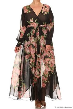 dad100bdcd741f As Seen In US WEEKLY  Send My Love Floral Chiffon Maxi Dress-Black   Pink