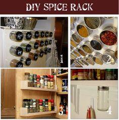 16 DIY Spice Racks - I liked the babyfood jars with chalkboard paint lids and magnets to put on fridge. :)