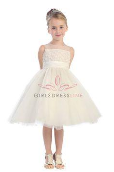 Ivory Floral Trimed Bodice Tulle T-Length Stunning Dress T5585-IV T5585-IV $52.99 on www.GirlsDressLine.Com