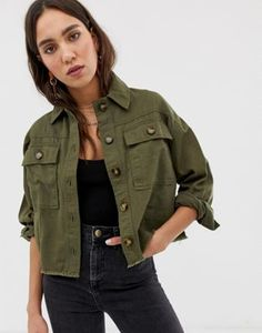 Shop River Island shacket in khaki at ASOS. Order now with multiple payment and delivery options, including free and unlimited next day delivery (Ts&Cs apply). Casual Outfits, Cute Outfits, Fashion Outfits, New Look Coats, Island Outfit, Khaki Jacket, Jackets For Women, Clothes For Women, Jackett