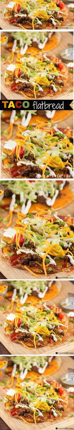 TACO FLATBREAD PIZZA Recipe with layers of seasoned TACO meat, crisp lettuce, and melty cheddar cheese. Served with drizzles of sour cream and TACO sauce. A fun alternative to typical TACO night!